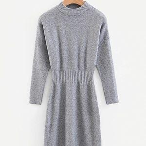 Elastic Waist Solid Sweater Dress NEW